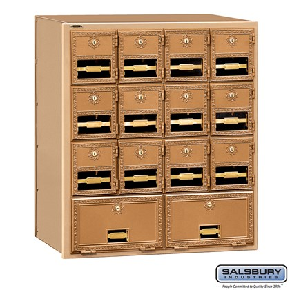 Brass Mailbox - 14 Doors - Rear Loading