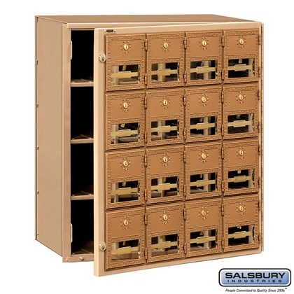 Brass Mailbox - 16 Doors - Front Loading