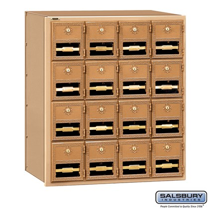 Brass Mailbox - 16 Doors - Rear Loading