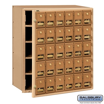 Brass Mailbox - 30 Doors - Front Loading