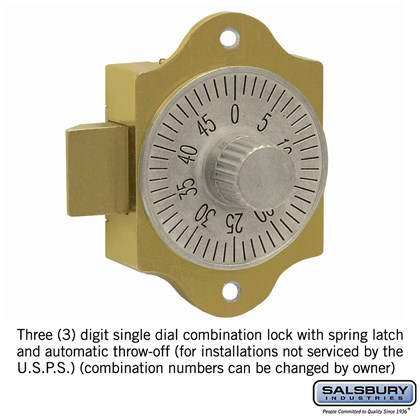 Combination Lock - for Brass Mailbox Door