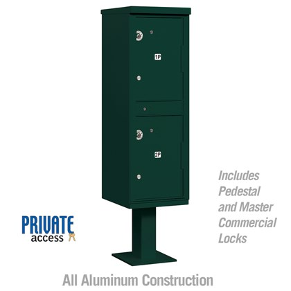 Outdoor Parcel Locker (Includes Pedestal and Master Commercial Locks) - 2 Compartments - Green - Private Access