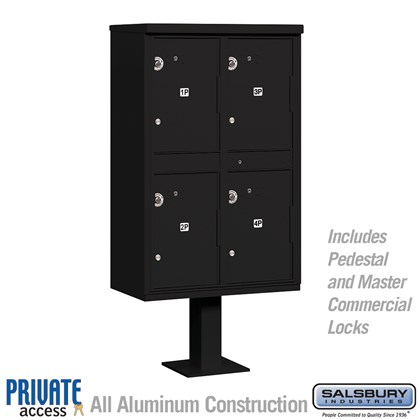 Outdoor Parcel Locker (Includes Pedestal and Master Commercial Locks) - 4 Compartments - Black - Private Access