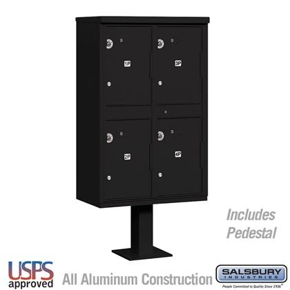 Outdoor Parcel Locker (Includes Pedestal) - 4 Compartments - Black - USPS Access