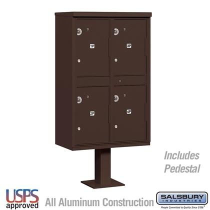 Outdoor Parcel Locker (Includes Pedestal) - 4 Compartments - Bronze - USPS Access