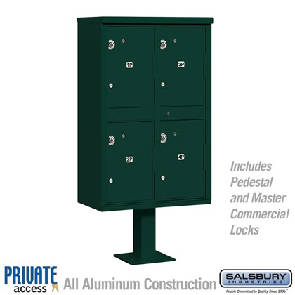 Outdoor Parcel Locker (Includes Pedestal and Master Commercial Locks) - 4 Compartments - Green - Private Access