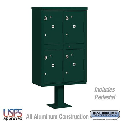Outdoor Parcel Locker (Includes Pedestal) - 4 Compartments - Green - USPS Access