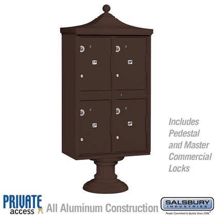 Regency Outdoor Parcel Locker (Includes Pedestal, CBU Top and Pedestal Cover - Short and Master Commercial Locks) - 4 Compartments - Bronze - Private Access