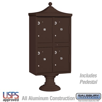 Regency Outdoor Parcel Locker (Includes Pedestal, CBU Top and Pedestal Cover - Short) - 4 Compartments - Bronze - USPS Access