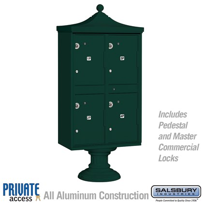 Regency Outdoor Parcel Locker (Includes Pedestal, CBU Top and Pedestal Cover - Short and Master Commercial Locks) - 4 Compartments - Green - Private Access