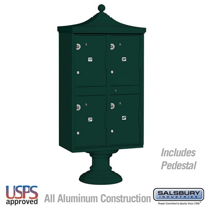 Regency Outdoor Parcel Locker (Includes Pedestal, CBU Top and Pedestal Cover - Short) - 4 Compartments - Green - USPS Access