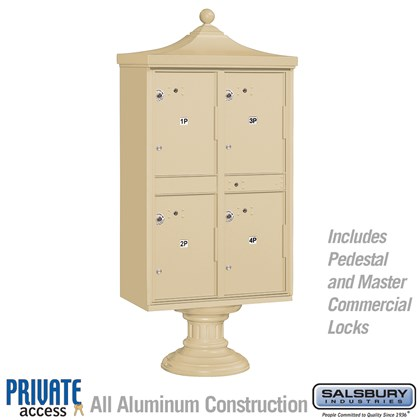 Regency Outdoor Parcel Locker (Includes Pedestal, CBU Top and Pedestal Cover - Short and Master Commercial Locks) - 4 Compartments - Private Access