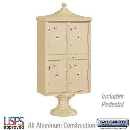 Regency Outdoor Parcel Locker (Includes Pedestal, CBU Top and Pedestal Cover - Short) - 4 Compartments - USPS Access