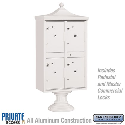 Regency Outdoor Parcel Locker (Includes Pedestal, CBU Top and Pedestal Cover - Short and Master Commercial Locks) - 4 Compartments - White - Private Access
