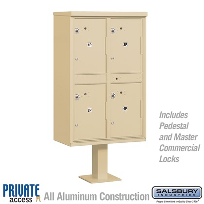 Outdoor Parcel Locker (Includes Pedestal and Master Commercial Locks) - 4 Compartments - Private Access