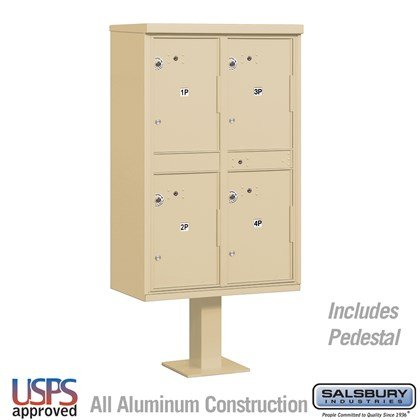 Outdoor Parcel Locker (Includes Pedestal) - 4 Compartments - USPS Access
