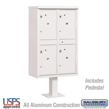 Outdoor Parcel Locker (Includes Pedestal) - 4 Compartments - White - USPS Access