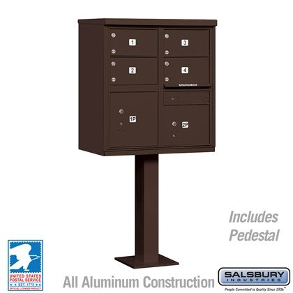 Cluster Box Unit (Includes Pedestal) - 4 C Size Doors - Type V - Bronze - USPS Access