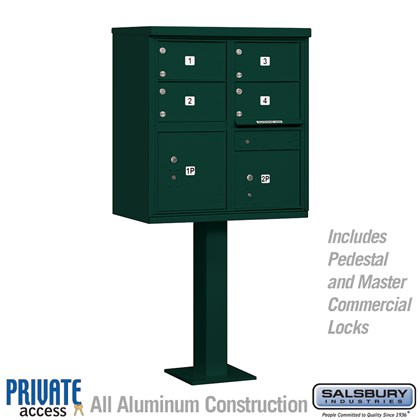 Cluster Box Unit (Includes Pedestal and Master Commercial Locks) - 4 C Size Doors - Type V - Green - Private Access