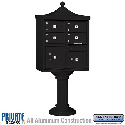 Regency Decorative CBU (Includes Pedestal, CBU Top and Pedestal Cover - Tall and Master Commercial Locks) - 4 C Size Doors - Type V - Black - Private Access