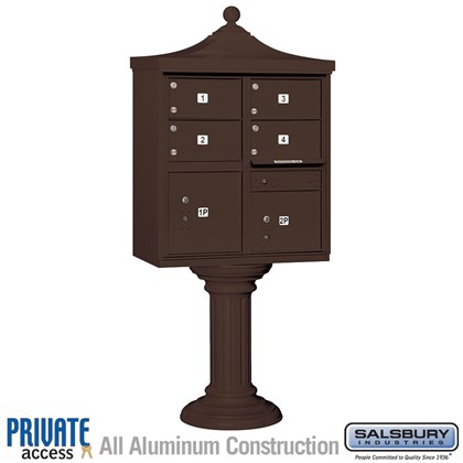 Regency Decorative CBU (Includes Pedestal, CBU Top and Pedestal Cover - Tall and Master Commercial Locks) - 4 C Size Doors - Type V - Bronze - Private Access