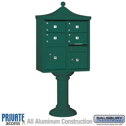 Regency Decorative CBU (Includes Pedestal, CBU Top and Pedestal Cover - Tall and Master Commercial Locks) - 4 C Size Doors - Type V - Green - Private Access