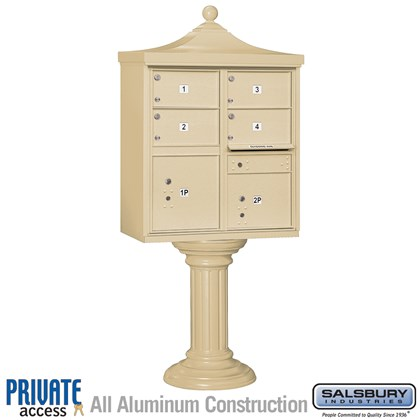 Regency Decorative CBU (Includes Pedestal, CBU Top and Pedestal Cover - Tall and Master Commercial Locks) - 4 C Size Doors - Type V - Private Access