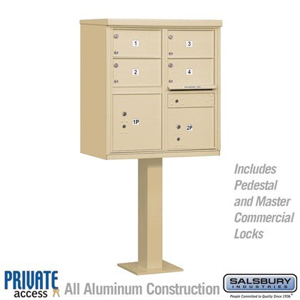 Cluster Box Unit (Includes Pedestal and Master Commercial Locks) - 4 C Size Doors - Type V - Private Access