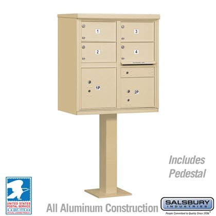 Cluster Box Unit (Includes Pedestal) - 4 C Size Doors - Type V - USPS Access