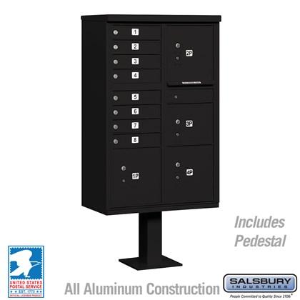 Cluster Box Unit (Includes Pedestal) - 8 A Size Doors - Type VI - Black - USPS Access