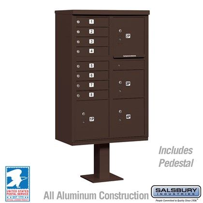 Cluster Box Unit (Includes Pedestal) - 8 A Size Doors - Type VI - Bronze - USPS Access