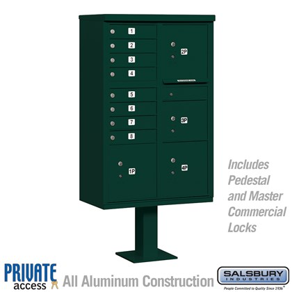 Cluster Box Unit (Includes Pedestal and Master Commercial Locks) - 8 A Size Doors - Type VI - Green - Private Access