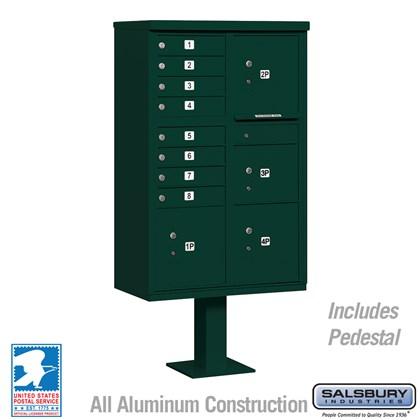 Cluster Box Unit (Includes Pedestal) - 8 A Size Doors - Type VI - Green - USPS Access