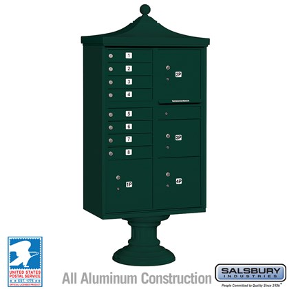 Regency Decorative CBU (Includes Pedestal, CBU Top and Pedestal Cover - Short) - 8 A Size Doors - Type VI - Green - USPS Access