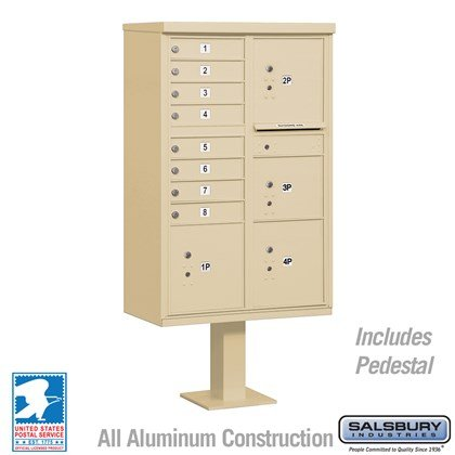 Cluster Box Unit (Includes Pedestal) - 8 A Size Doors - Type VI - USPS Access