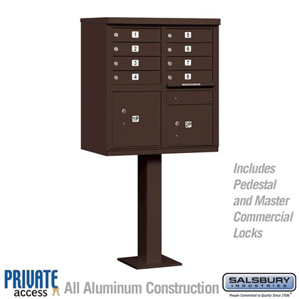 Cluster Box Unit (Includes Pedestal and Master Commercial Locks) - 8 A Size Doors - Type I - Bronze - Private Access