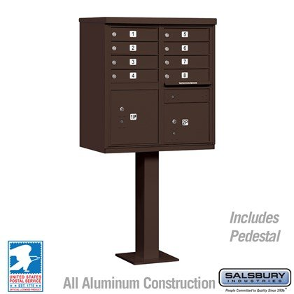 Cluster Box Unit (Includes Pedestal) - 8 A Size Doors - Type I - Bronze - USPS Access