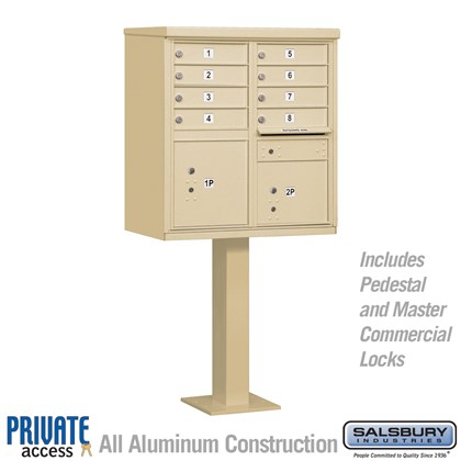Cluster Box Unit (Includes Pedestal and Master Commercial Locks) - 8 A Size Doors - Type I - Private Access