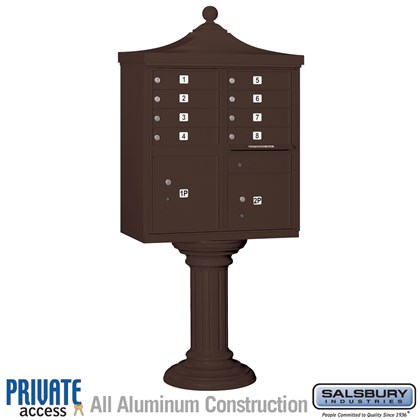 Regency Decorative CBU (Includes CBU, Pedestal, CBU Top, Pedestal Cover - Tall and Master Commercial Locks) - 8 A Size Doors - Type I - Bronze - Private Access
