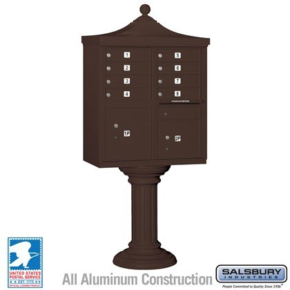 Regency Decorative CBU (Includes CBU, Pedestal, CBU Top and Pedestal Cover - Tall) - 8 A Size Doors - Type I - Bronze - USPS Access