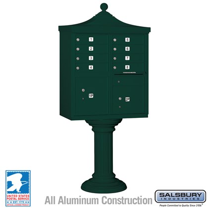 Regency Decorative CBU (Includes CBU, Pedestal, CBU Top and Pedestal Cover - Tall) - 8 A Size Doors - Type I - Green - USPS Access