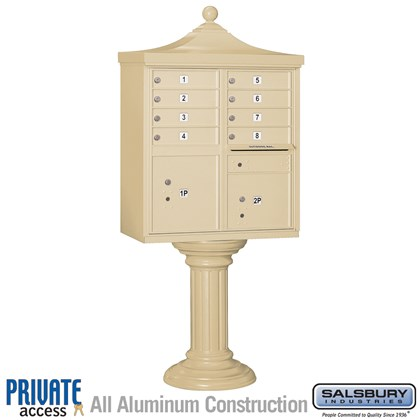 Regency Decorative CBU (Includes CBU, Pedestal, CBU Top, Pedestal Cover - Tall and Master Commercial Locks) - 8 A Size Doors - Type I - Private Access