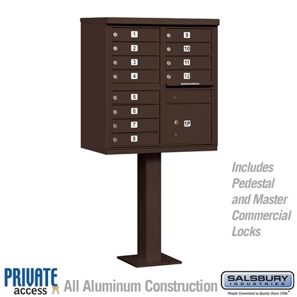 Cluster Box Unit (Includes Pedestal and Master Commercial Locks) - 12 A Size Doors - Type II - Bronze - Private Access