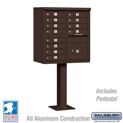 Cluster Box Unit (Includes Pedestal) - 12 A Size Doors - Type II - Bronze - USPS Access