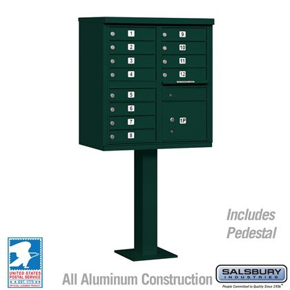Cluster Box Unit (Includes Pedestal) - 12 A Size Doors - Type II - Green - USPS Access
