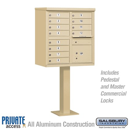 Cluster Box Unit (Includes Pedestal and Master Commercial Locks) - 12 A Size Doors - Type II - Private Access