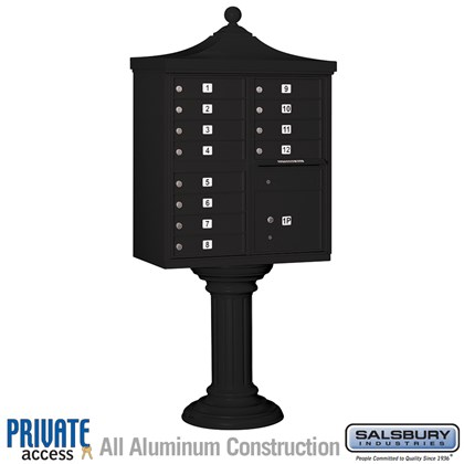 Regency Decorative CBU (Includes CBU, Pedestal, CBU Top, Pedestal Cover - Tall and Master Commercial Locks) - 12 A Size Doors - Type II - Black - Private Access