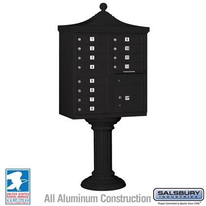 Regency Decorative CBU (Includes CBU, Pedestal, CBU Top and Pedestal Cover - Tall) - 12 A Size Doors - Type II - Black - USPS Access