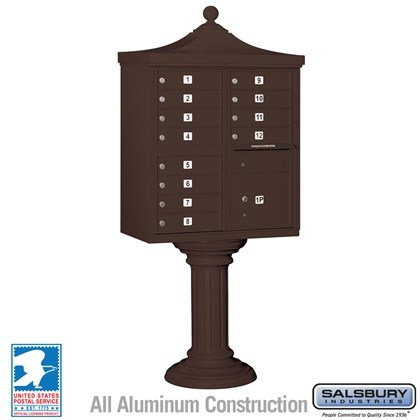 Regency Decorative CBU (Includes CBU, Pedestal, CBU Top and Pedestal Cover - Tall) - 12 A Size Doors - Type II - Bronze - USPS Access