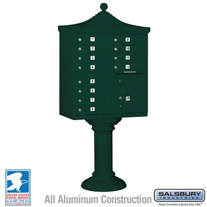 Regency Decorative CBU (Includes CBU, Pedestal, CBU Top and Pedestal Cover - Tall) - 12 A Size Doors - Type II - Green - USPS Access